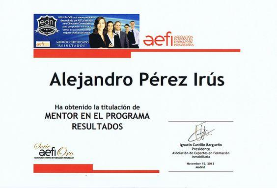 Certificado de Mentor Formador Inmobiliario para Alejandro Perez Irus para Consultorias en Agencias Inmobiliarias AlejandroPI Coaching