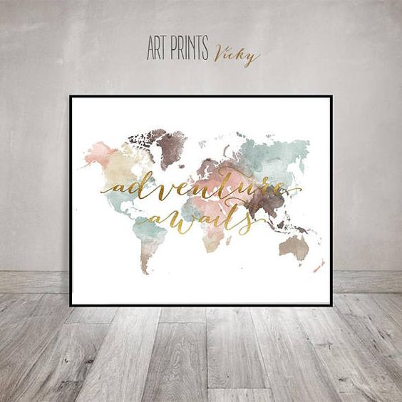 World map print watercolor travel map large world map world map adventure awaits print world map poster large world map world map wall art travel map travel decor faux gold gift artprintsvicky gumiabroncs Choice Image