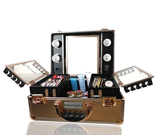 Kemier Makeup Train Case Cosmetic Organizer Box Makeup Case With Lights And Mirror Makeup Case With Customized Dividers Large Makeup Artist Organizer Kit Ros