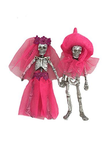 One Hundred 80 Degrees Day of the Dead Skeleton Couple Hanging Ornament (Pink)