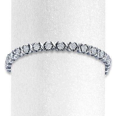 Diamond Bracelet 1 ct tw Round-cut Sterling Silver