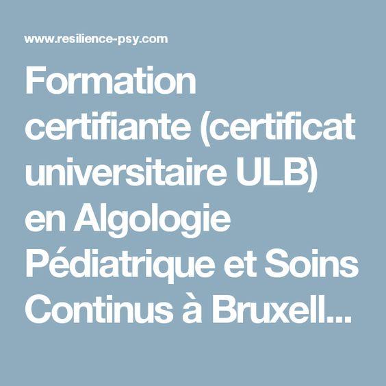 Formation certifiante (certificat universitaire ULB) en Algologie Pédiatrique et Soins Continus à Bruxelles.