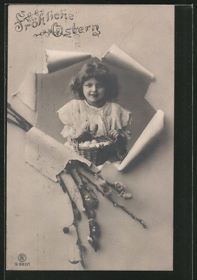Mädchen mit einem Korb voller Eier, Weidenzweige, Ostern / RPPC / Vintage cute girl / Do you know the name of this mysterious unknown child ? PLEASE TELL ME !!...Vintage postcard ca 1910 of my favorite model / This child is such a mystery!!!. She was often a model for the German photographer Henry ( Heinrich) Traut / Carte postales anciennes enfants - CPA fantaisie enfant - jeune fille. / Edwardian