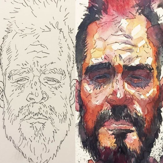 Loose in line pre and post #watercolor  Paint #painting #selfie #self portrait #art #ink #illustration #drawing #draw #Artofant #artist #sketch #sketchbook #instaart #beautiful #gallery #creative #artoftheday