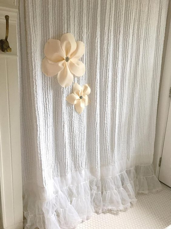Shabby Cottage Chic Shower Curtain White Chenille with