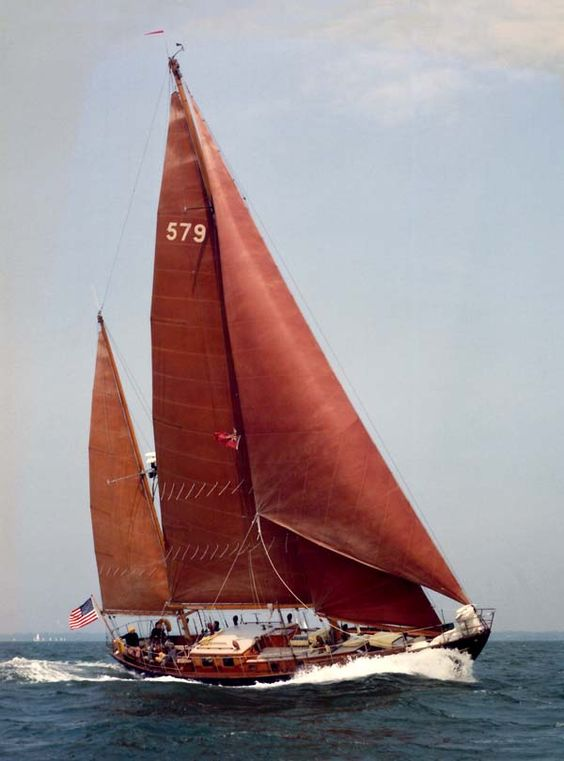 Redhouse.ca | Minot's Light, John Alden 58' Steel Ketch, 1950. Just like the sails in our old boat.  Love