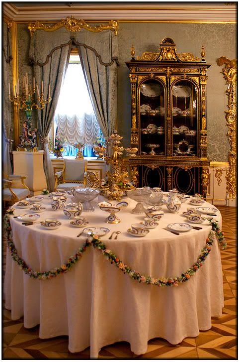 Afternoon tea at Peterhof Palace, Saint Petersburg, Russia.    The table at Peterhof is set for a grand tea in the Russian tradition at the palace of Peter the Great in Saint Petersburg, Russia