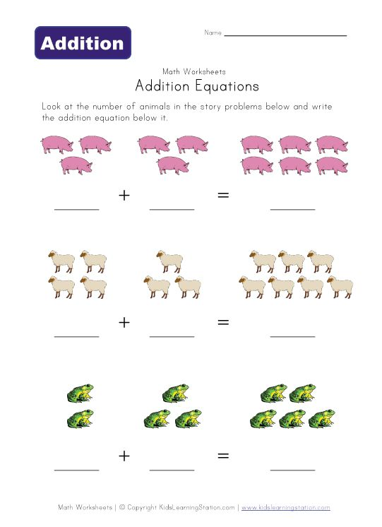 Adding Worksheet Elementary : Addition equations worksheet animals activities for kids