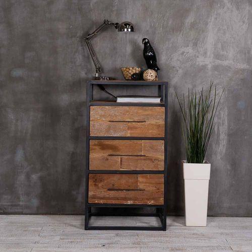 Meuble De Rangement Teck Et Metal Recycles Urban 55cm Wooden