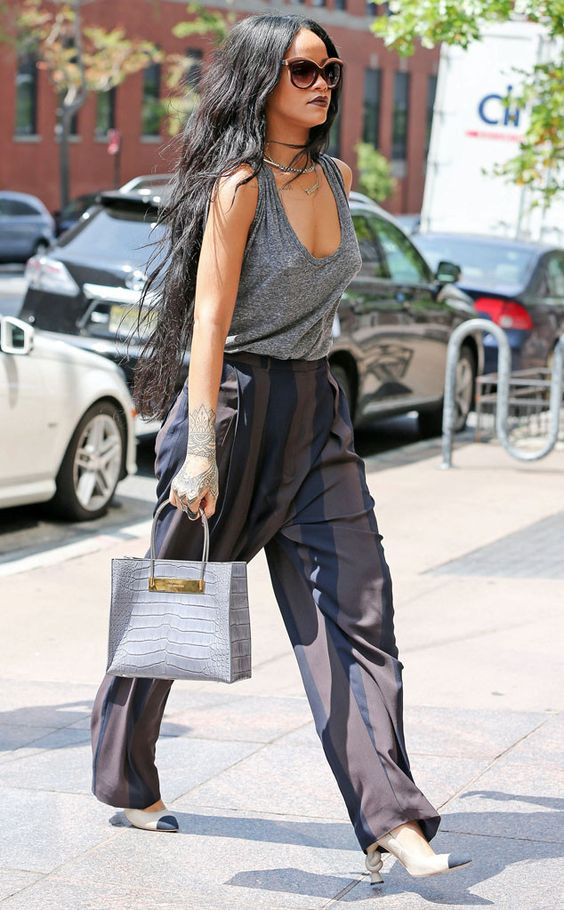Fall Forward from Celebrity Street Style  Rihanna's baggy chic look is all fall fashion.