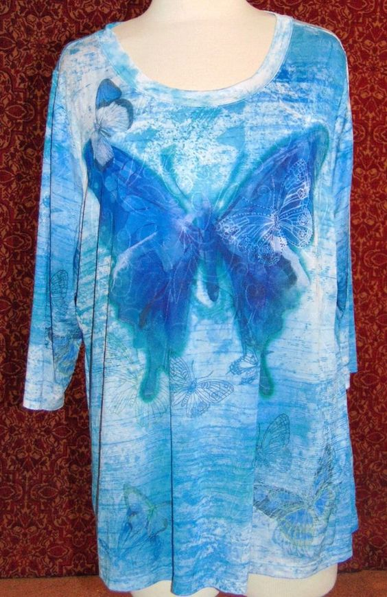 ESSENTIALS blue artsy butterfly polyester 3/4 sleeve tunic blouse 2X (T4802C6F) #Essentials #Tunic #Casual
