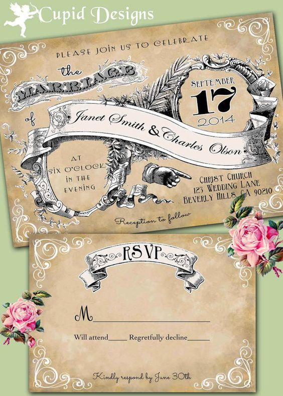 Vintage romantic wedding invitations Victorian Royal Elegant – Custom Printed Wedding Invitations