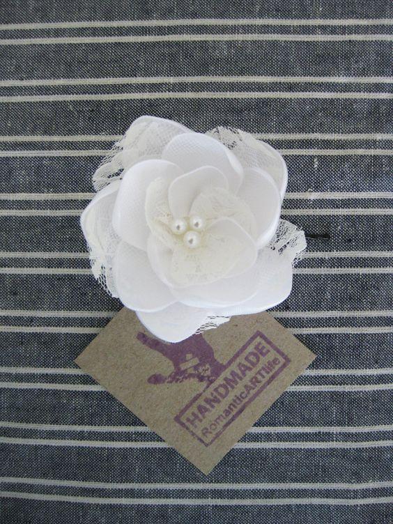 White Flower Pin. White Hair Piece. Flower Hair Accessory. Wedding Flower Clip. White Flower Bobby Pin.. $12.95, via Etsy.