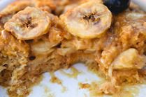Peanut butter banana breakfast bread pudding.