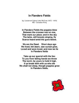 "essay on in flanders fields Essays & reviews  an example of a famous rondeau is ""in flanders fields"" by  the canadian soldier and  of the phrase, ""in flanders fields"" emphasizes its  meaning, creating a poignant echo effect as the poem unfolds."