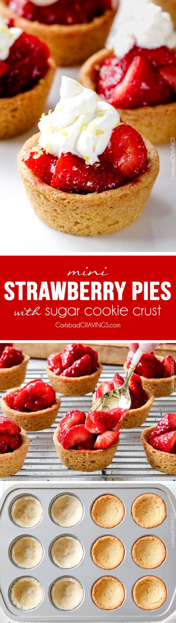 Mini Strawberry Pies Recipe via Carlsbad Cravings - The best strawberry pie filling nestled in easy soft, buttery, sugar cookie crusts make the most adorable, crowd pleasing and delicious Mini Strawberry Pies! And they are make ahead for stress free entertaining! The BEST Bite Size Dessert Recipes - Mini, Individual, Yummy Treats, Perfectly Pretty for Your Baby and Bridal Showers, Birthday Party Dessert Tables and Holiday Celebrations! #bitesizedesserts #individualdesserts #minidesserts #tinyfood #partydesserts #dessertsforacrowd #dessertrecipes #holidayrecipes #babyshowerdesserts #bridalshowerdesserts #weddingreceptiondesserts #easydesserts