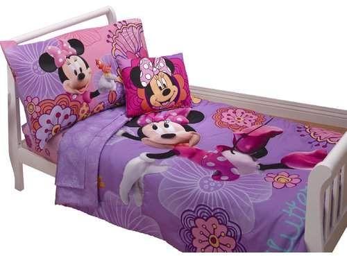 Minnie S Fluttery Friends 4 Piece Toddler Bedding Set Minnie