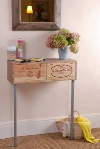 No l consoles and bricolage on pinterest - Table de chevet caisse de vin ...