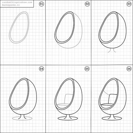 How To Draw An Egg Chair By Rttdraw Interior Design Drawings Interior Design Sketches Furniture Design Sketches