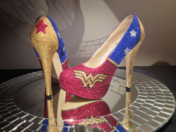 Wonder Woman High Heel Glitter Shoes for Women by ChicUniqueGeek
