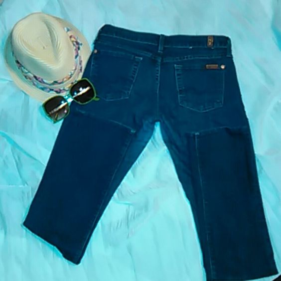 HAUTE!!! Jeans from 7 for all mankind. Barely worn. EXCELLENT CONDITION!!!! Darker shade of denim. No tears, no fraying.... need a new home!!! MAKE ME AN OFFER!!! 7 for all Mankind Jeans