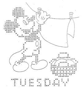 Hand Embroidery Pattern 796 Mickey Minnie Mouse for Days of The Week Towels 40s   eBay