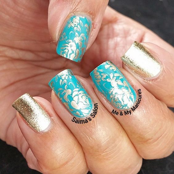 """""""My Manicure: Unicorn Shod  This manicure is inspired by a shoe,  A shoe of all things, made of turquoise blue,  Resting upon a gold unicorn head, Walking…"""""""