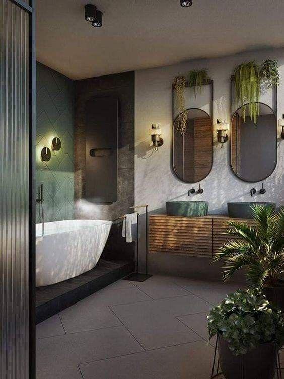 Luxus Und Modernes Bad Fur Naturliebhaber Bad Liebhaber Luxus Miroir Modern Bathrooms Mix In 2021 Office Interior Design Bathroom Interior Design Bathroom Interior
