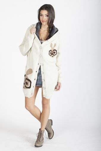 Cream Rabbit Print Fur Hooded Button Down Sweater #jumper #winter #oversized #cardigan #ustrendy