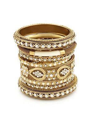 Chamak by Priya Kakkar Set Of 8 Gold, Enamel & Crystal Bangle Bracelets