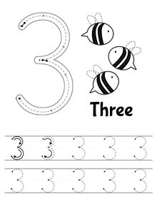 Freebie! Free number 3 worksheet: count and trace - for preschool and kindergarten