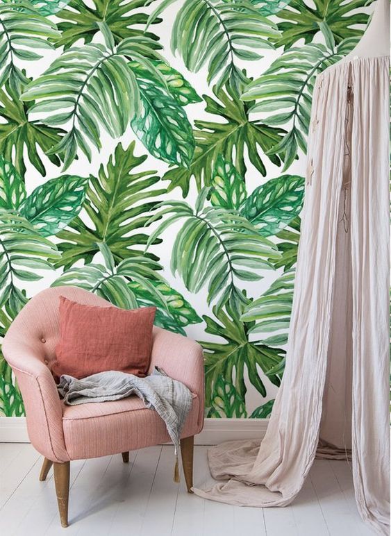 Jungle Leaves Wallpaper Peel and stick Watercolor Exotic