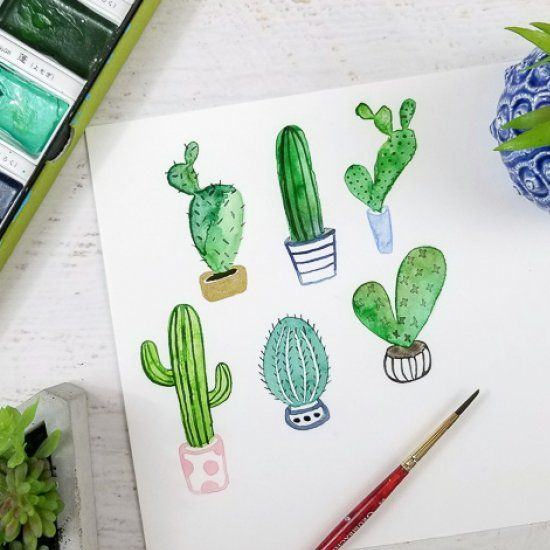 How To Paint A Watercolor Cactus Craft Gawker Watercolor