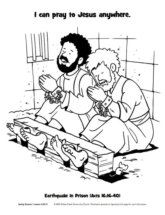 Paul and Silas in prison (Acts 16) coloring pages - Google Search
