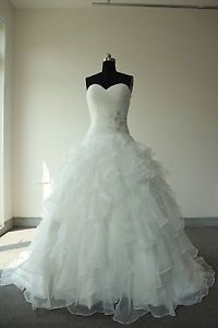 2014 ivory/ white organza empire wedding bridal dresses Size 6 8 10 12 14 16