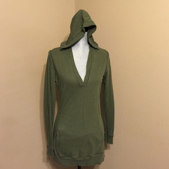 Army green hoody Thin cotton long hoody with front pockets. Old Navy Tops Sweatshirts & Hoodies