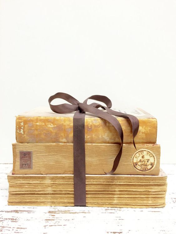 Decorative books in neutral colors