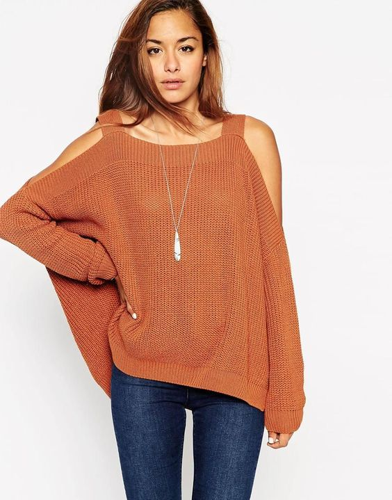ASOS | ASOS Chunky Sweater With Cold Shoulder and Split Sides at ASOS