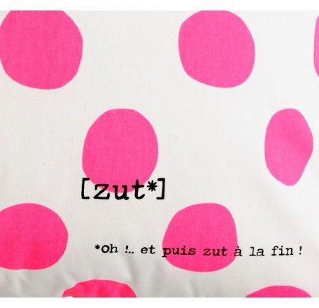 Cuscino XL Bla bla.. pois fluo pink 72x72 - lesparigotes