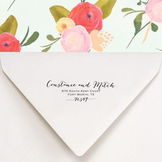 Custom Return Address Stamp - stamp Wedding invitations - calligraphy style lettering - Constance and Mitch Design von RubberStampPress auf Etsy https://www.etsy.com/de/listing/150361331/custom-return-address-stamp-stamp