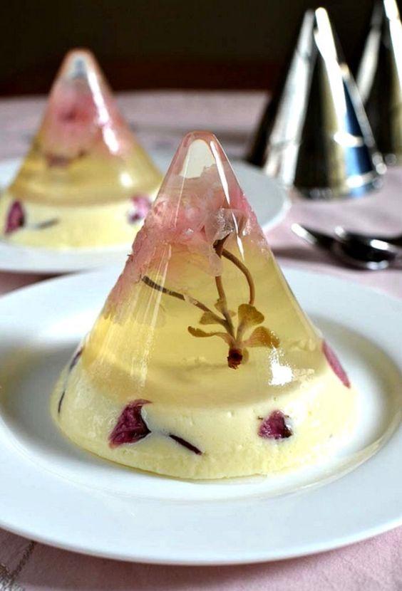 Sakura jelly with white chocolate mousse recipe: http://hungerhunger.blogspot.com/2011/10/sakura-jelly.html:
