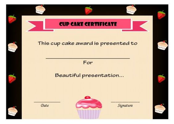Cup Cake Certificate Cake Competition Cake Cake Decorating