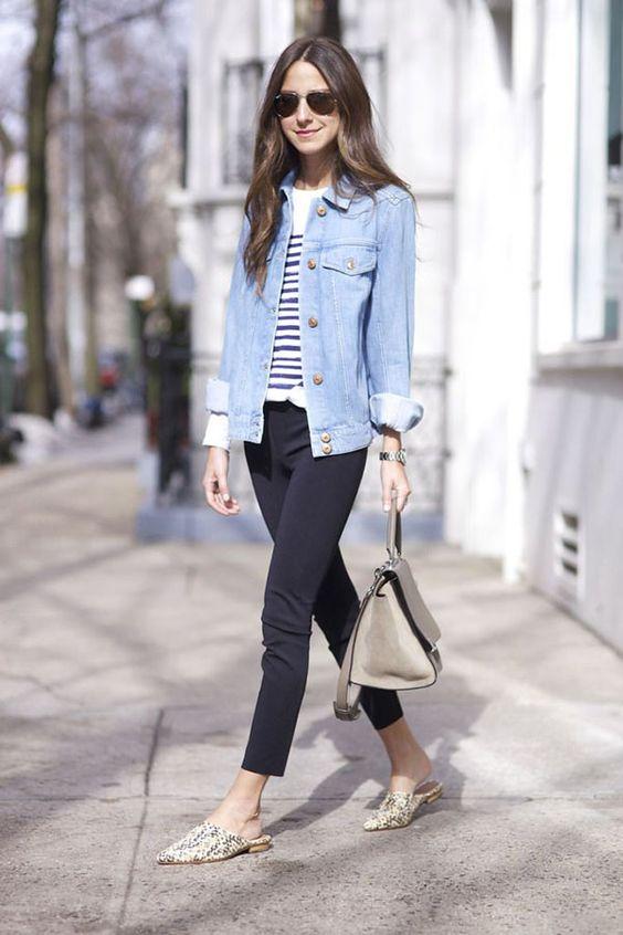 mule flat estampa jaqueta jeans:
