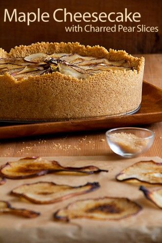 maple cheesecake with pears