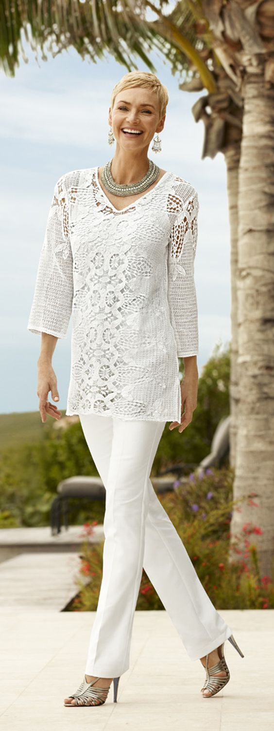 Pair a tunic with slimming pants. You'll look taller and thinner. Chico's Summer 2014: