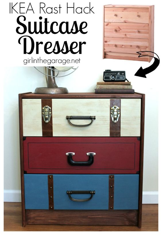 IKEA RAST Hack: A suitcase dresser makeover from an IKEA chest of drawers. girlinthegarage.net: