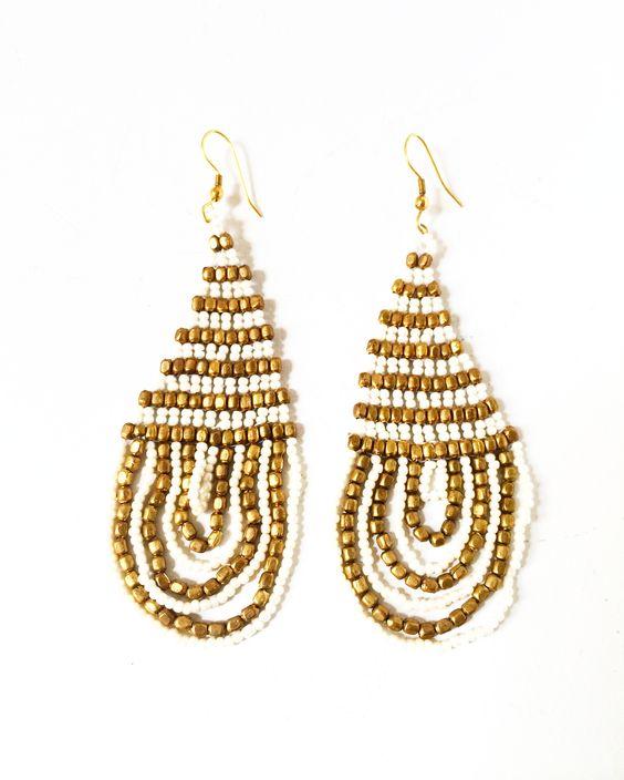 Brass Bead Earring