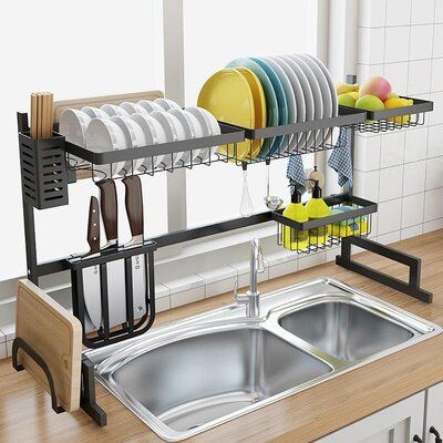 Pahayu Drying Kitchen Stainless Steel Adjustable Dish Rack Home Decor Kitchen Kitchen Interior Home Kitchens
