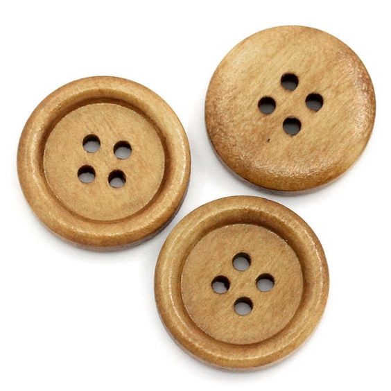 25 Brown Wooden Buttons - 20mm - 4 hole