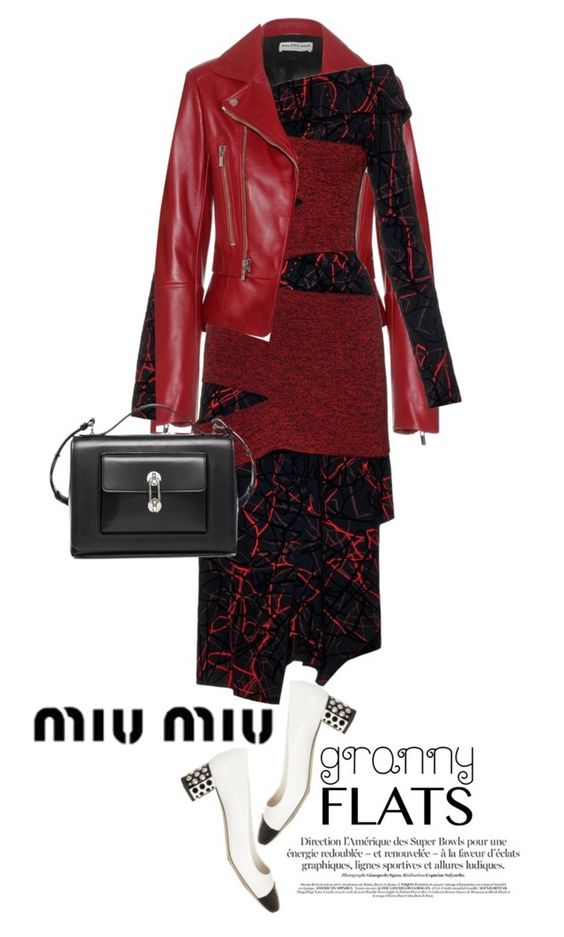 """""""Miu Miu Crystal-embellished two-tone patent-leather  shoes"""" by esterp ❤ liked on Polyvore featuring Balenciaga, Proenza Schouler and Miu Miu"""